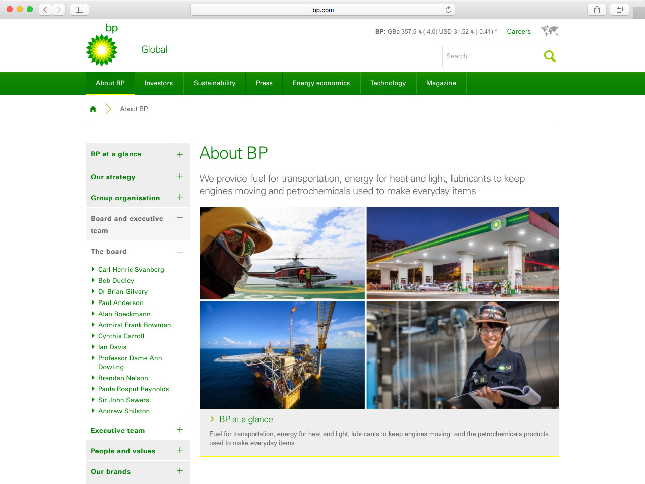 A real-world example of an accordion menu on the BP website