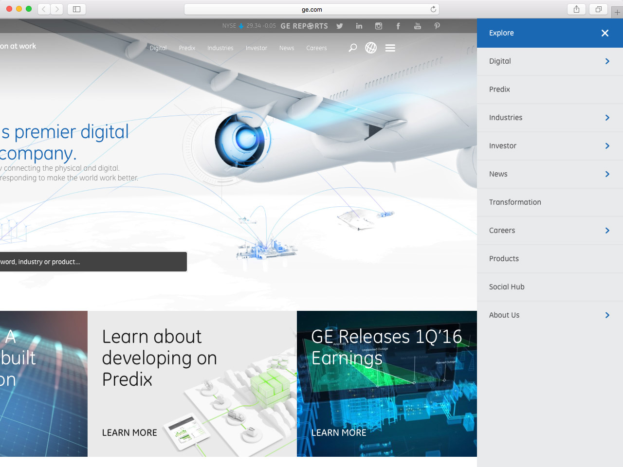 A real-world example of an off-canvas navigation on the General Electric website