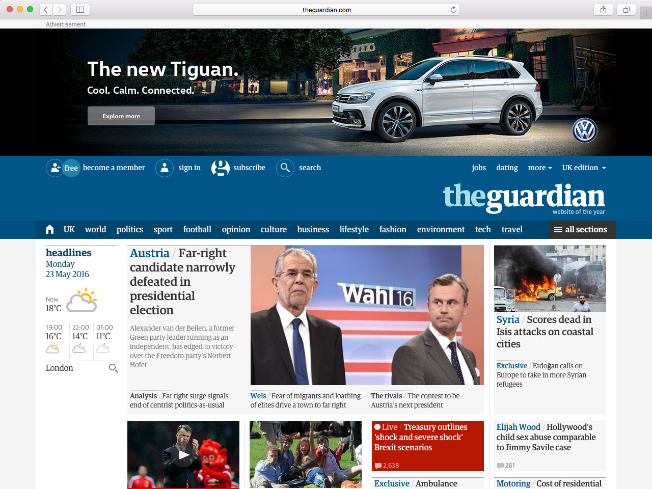 A real-world example of a Priorty+ navigation on the Guardian website
