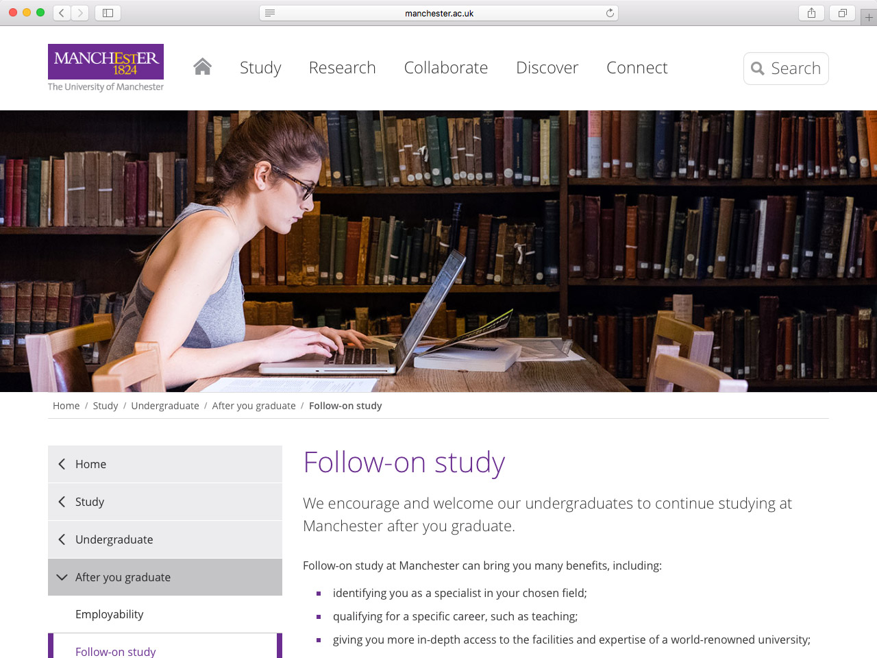 A real-world example of breadcrumbs on the University of Manchester website