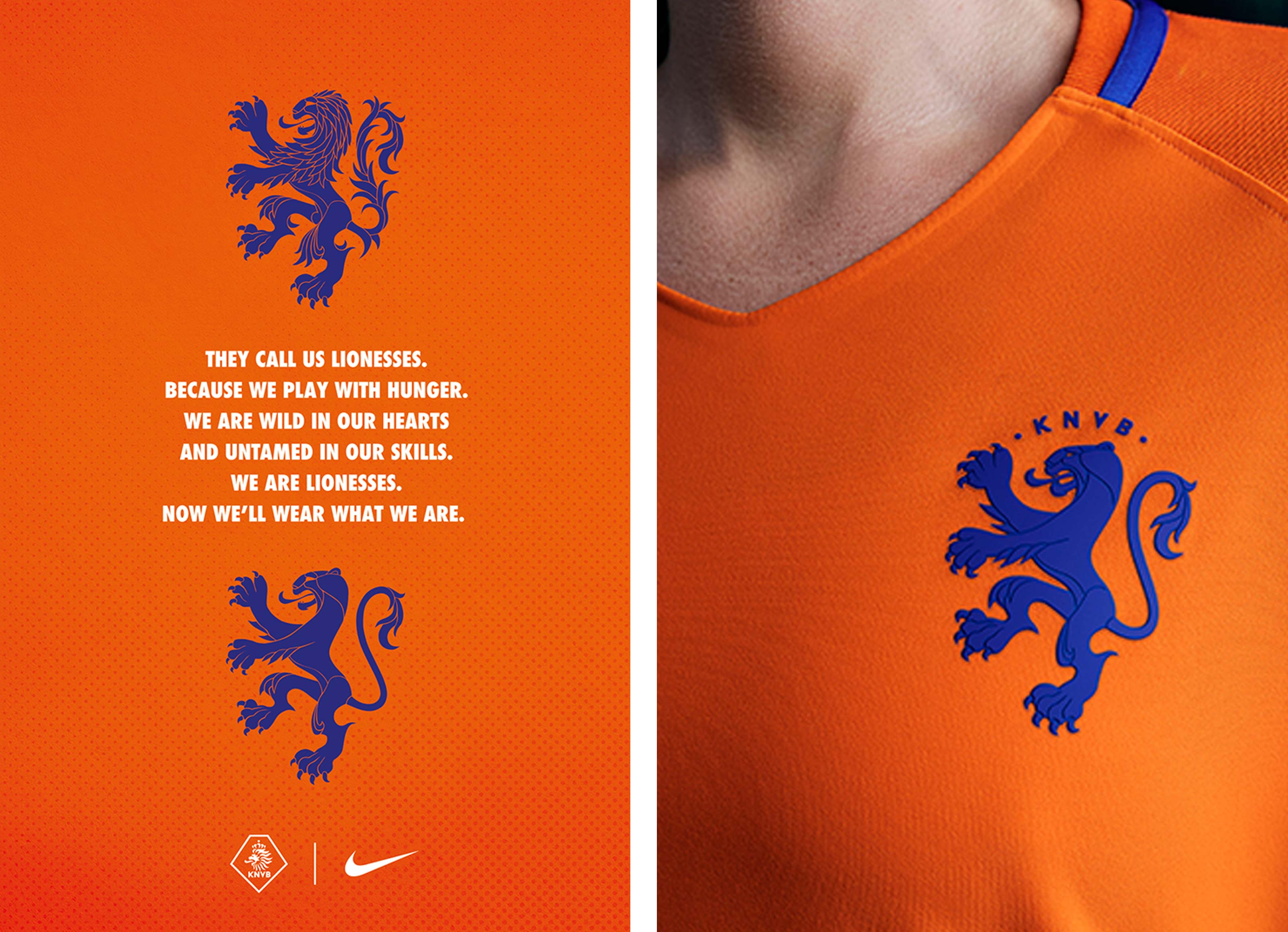 Netherlands lion to lioness brand campaign and shirt detail